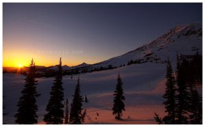 Winter Sunset on Rainier by Raymaker