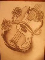 Guitar with roses by Sissyke