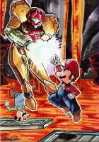 Commission: Samus v Mario Bros by skardash