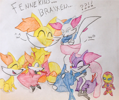 Fennekins And Braixens by KnightMoonlight98