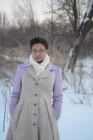Lilac and Houndstooth Coat by LennaMarie