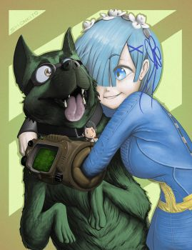 Rem and Dogmeat by Smonkito