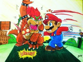 Mario vs Bowser by Sugashane09
