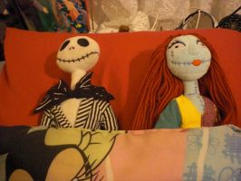 Jack and Sally in my bed by Mysticalblackangel