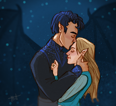 Rhys and Feyre by jurassicpencil