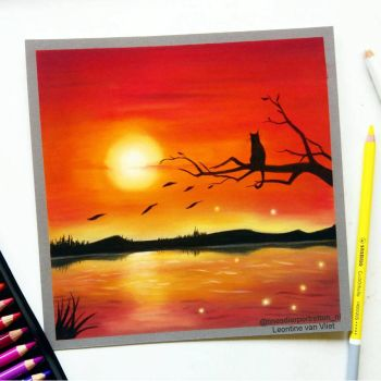 Red sunset, pastel drawing by Tinesdierportretten