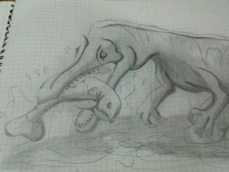 Fishing -- middle school drawing by AtomicRex