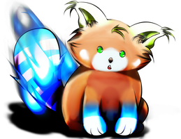 Blue Flamed Red Panda by Tryflozn