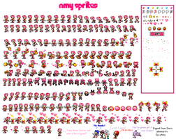Amy Rose sprites by SexyAmyRosepixelart