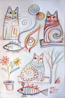 Doodle cats by karincharlotte