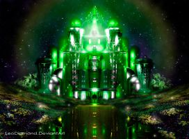 ~The Emerald City at Night~ a 3d Render by LeoDiamond