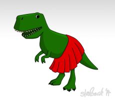T-Rex In A Skirt by Stewbeck