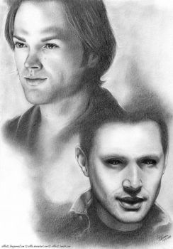 JIB6 Artproject: Soulless Sam and Demon Dean by Sillie