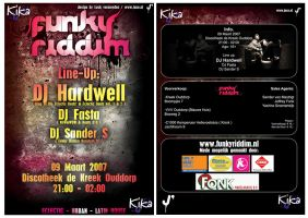 FUNKY RIDDIM flyer front+back by JaxeNL