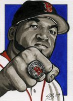 David Ortiz Sketch Card by jlbanchick