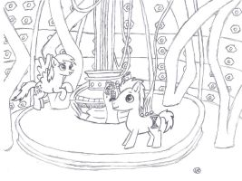 The Doctor and Derpy in the TARDIS by uhnevermind