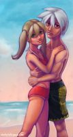 Soul + Maka at the Beach by inki-drop