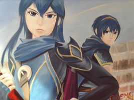 Painting of Lucina and Marth by DNLINK