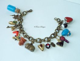 Ocarina of Time Charm Bracelet AntiqueGold Zelda 2 by TorresDesigns
