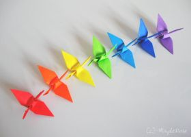 Origami: Rainbow Cranes 1 by MapleRose