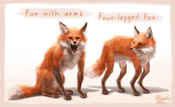 Foxes with arms/legs by K-Bladin
