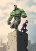 Hulk and Spidey colab with Anny-D by Dreviator