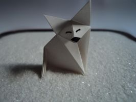 White origami fox by TheLastSorcerer