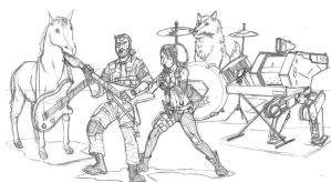 Snake and the Buddies- pencils by CrimeRoyale