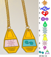 Digimon Tag and Crest necklace by kouweechi