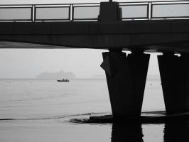 Two Ships and a Bridge by barefootliam