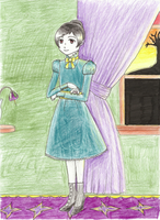 Portrait of Kyra at 8 w. Percy by Siouxstar