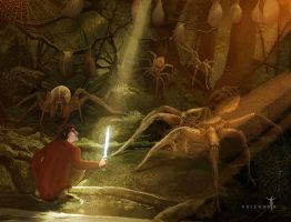 Bilbo and the Mirkwood Spiders by Valerhon