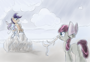 The Cutie Mark Crusaders at the beach by DarkFlame75