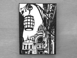 Cityscape Ink Drawing ACEO / ATC by OneUrbanTribe