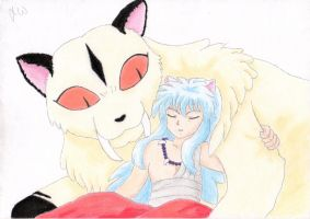 Kirara and InuYasha by JamieWardley