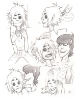 Murdoc messing with 2D by MissWiggleButt