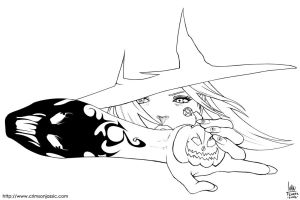 Halloween Witch - Lineart by transfuse