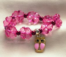 Bransoletka .pink owl. by anabell18