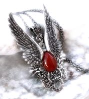 Dark Angel Pendant -Carnelian by Aranwen