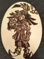 Majora's mask Skull Kid Wood Burning Plaque by Mehdals