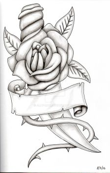 Rose and dagger knife blade pencil pen sketch 001 by Ally-man