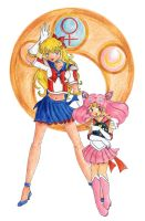 Sailor V and Chibi Moon by MinkDragon
