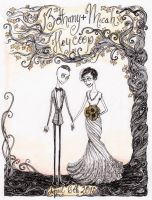 Tim Burtonned Wedding Gift Commission by La-Chapeliere-Folle