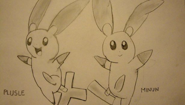 Plusle and Minun by Baby-Gaia