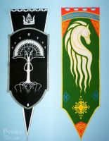 Gondor and Rohan flags by Svetlana-Byaka
