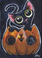Black cat Halloween ACEO painting by KingZoidLord
