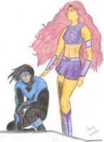 Nightwing Starfire Stakeout by caffeinefiend