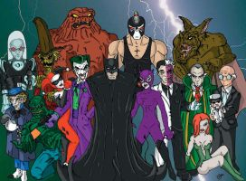 Batman and his rogues by happymonkeyshoes