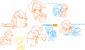 Scootaloo Laid an EGG- Applejack Sketches by Mushroom-Cookie-Bear