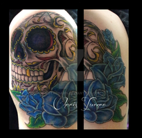 Sugar Skull Tattoo by Metacharis